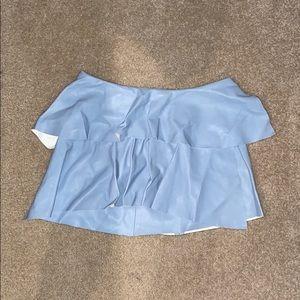 Blue leather Zara mini skirt